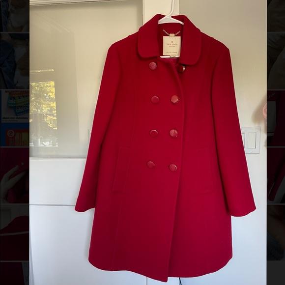 Red Wool Blend Kate Spade Swing Back Coat - M